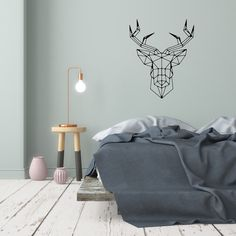 Hello deer transforms any bedroom into a scandi style one. Removable Wall Decals, Wall Decal Sticker, Wall Stickers, Scandi Style, Scandinavian Style, Cushions, Pillows, Minimalist Home, Decoration