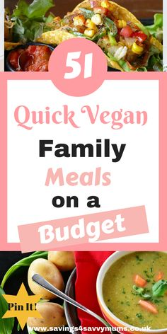 51 Quick Vegan Meals for Kids – Savings 4 Savvy Mums Here are 51 quick and easy vegan meals on a budget for the whole family including a vegan meal plan and shopping list by Laura at Savings 4 Savvy Mums Vegan Budget, Cheap Vegan Meals, Quick Vegan Meals, Healthy Recipes On A Budget, Vegan Recipes Easy, Quick Recipes, Easy Meals, Family Meal Planning, Budget Meal Planning