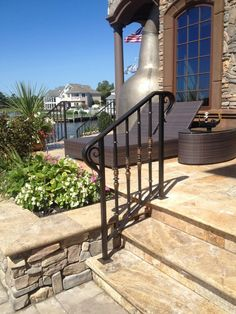 Spread the love Wrought Iron Porch Railings, Porch Handrails, Exterior Stair Railing, Front Porch Railings, Outdoor Stair Railing, Iron Handrails, Outside Stairs, Rock Steps, Kitchen Recessed Lighting