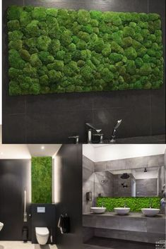 Bring your bathroom's decor to life with our Maintenance free, real Moss wall art Small Dark Bathroom, Dark Bathrooms, Rustic Bathrooms, Bathrooms Decor, Santorini House, Moss Wall Art, Green Wall Art, Japanese Interior, Forest House