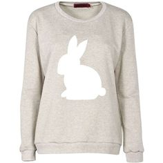 Boohoo Isla Rabbit Woodland Print Sweat (€8,27) ❤ liked on Polyvore featuring tops, hoodies, sweatshirts, sweaters, shirts, jumpers, patterned tops, print sweatshirt, boohoo tops and white shirt