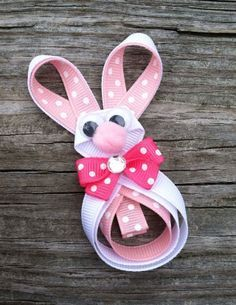 Easter Bunny Ribbon Sculpture Hair Bow... Rabbit Hair Clip... Free Shipping Promo. $4,00, via Etsy.