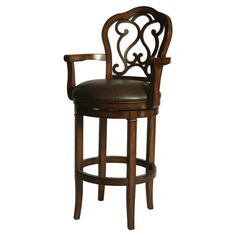 Brown Wooden Bar Stools With Curvy Back And Armrest Also Round Footrest Plus Round Dark Brown Leather Seat Pad
