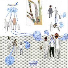 Claudia Maina :::Tamed Bodies n° 2:::_2012  Matita, penna pastelli e adesivi su carta  25 x 25 cm