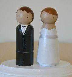 Custom Wedding Cake Topper Peg Dolls
