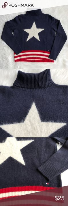 """Tommy Hilfiger Star and Striped Turtleneck Tommy Hilfiger Turtleneck in Navy blue. Cute star and striped design. Pit to pit 19"""". Length-22"""". Super comfy. Excellent condition. Tagged a size XL, may fit M or L better. Pls refer to the measurements. Tommy Hilfiger Sweaters Cowl & Turtlenecks"""