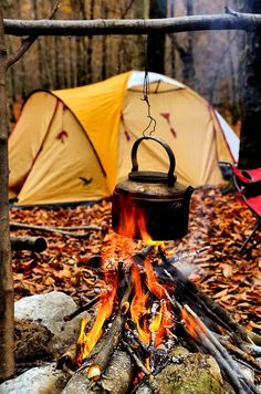 Everything in this picture just makes me smile and sigh. I LOVE camping in the autumn!