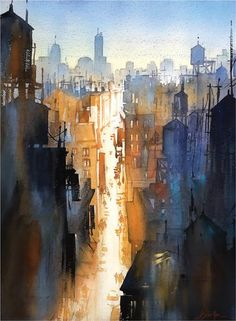 We Never Sleep (watercolor on paper, 30×22) by Thomas W. Schaller | Marina Del Rey, California