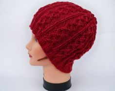 Cable Knit Beanie  Red Maple Unisex Wool Hat  by BettyMarieJones, $25.00