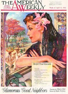 American Weekly Girl from Venezuela Henry Clive Jeep Ad Sarah Bernhardt 1943 | eBay