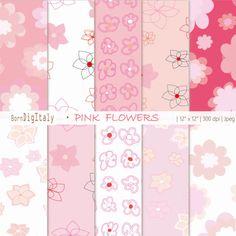 Floral Paper Floral Digital Paper Pack Pink by BornDigItaly
