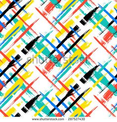 Vector seamless bold plaid pattern with thin brushstrokes and thin stripes hand painted in bright red, green, blue colors. Dynamic striped print texture for fall winter retro fashion and sportswear