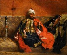 Eugène Delacroix - Turc fumant, assis sur un divan (1825)