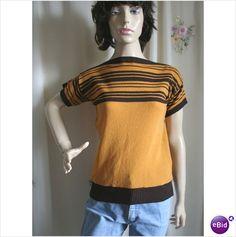 Vintage 1970 Brown Gold Stripe Jumper Sweater Size 12 Womens Knitwear on eBid United Kingdom