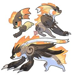 Wolverine firestarters by griffsnuff - Fakemon Pokemon Pokemon Fusion Art, Pokemon Oc, Pokemon Pokedex, Pokemon Fan Art, Pokemon Fake, Curious Creatures, Cute Creatures, Fantasy Creatures, Mythical Creatures