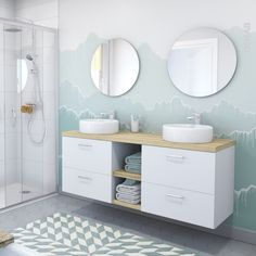 Meuble de salle de bains Sous vasque GINKO Blanc 2 tiroirs Côtés blancs x x cm - Oskab Bathroom Kids, White Bathroom, Decor Interior Design, Interior Decorating, Decorating Ideas, Bathroom Furniture, Home Goods, New Homes, Vanity