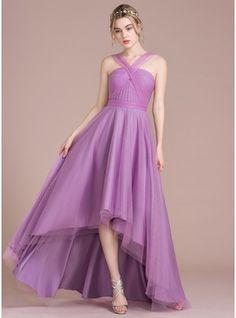 A-Line/Princess V-neck Asymmetrical Tulle Bridesmaid Dress With Ruffle