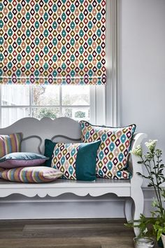 #prestigioustextiles #harlow #summer #vibrant #diamond #rainbow #colourful #interiordesign #fabrics #embroidery Curtain Fabric, Valance Curtains, Prestigious Textiles, English House, Summer Garden, Spring Summer, New Print, Go Green, Roman Shades