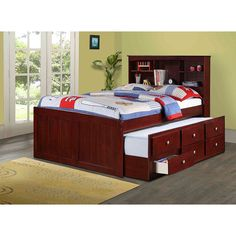 Donco Kids Bookcase Captains Trundle Bed with Storage in Dark Cappuccino (Full) Brown  sc 1 st  Pinterest & Full-size 3-drawer Twin Trundle Captain Bed | Furniture Shopping ...