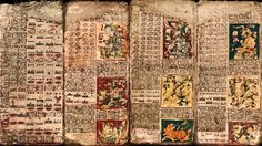 Pages from the Dresden Codex, a pre-Columbian Maya book of the eleventh or twelfth century of the Yucatecan Maya in Chichén Itzá.