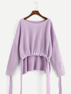 To find out about the Solid Knot Dip Hem Jumper at SHEIN, part of our latest Sweaters ready to shop online today! Top Casual, Purple Fashion, Young Models, Fashion News, Knitwear, My Style, Womens Fashion, How To Wear, Clothes