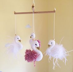 swan baby nursery mobile pink and gold nursery cot mobile Project Nursery, Nursery Ideas, Bird Nursery, Cot Mobile, Idee Diy, Everything Baby, Pink Flamingos, Pink And Gold, Sewing Projects
