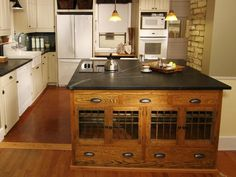 The Multi Functions Vintage Kitchen Island: Black Marble Countertop Vintage Kitchen Island With White Cabinet ~ dickoatts.com Kitchen Inspiration