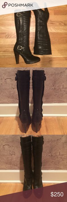 """Frye Harlow Tall Moto Black Leather Boots These Frye Harlow Tall Moto boots are in impeccable condition with only very minor scuffs on the outside edge of each sole. Heel height is 4 1/2 inches with a 1/2 inch platform in front making these boots very comfortable!  Silver metal buckles on the outside of each boot hide the boot length zipper. The boot stands 18"""" high from the ground to the top front of the boot. A perfect boot for the season that has a """"military"""" edge! Frye Shoes Combat…"""