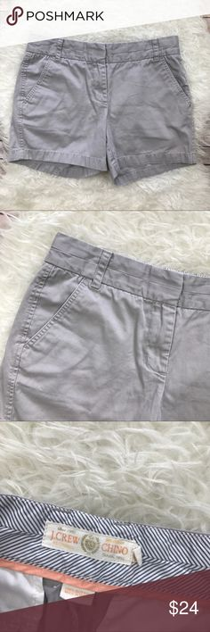 "J. Crew Stone Broken In Chino Shorts Good condition J. Crew Broken In Chino Shorts. Size 4. Stone gray. 100% cotton. Waistband 31"", rise 9"", inseam 5"". No flaws. No trades, offers welcome. J. Crew Shorts"