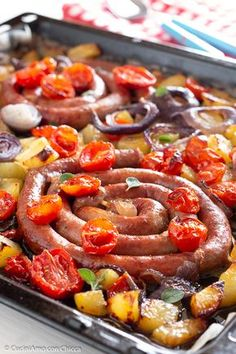 Sausage Recipes, Meat Recipes, Cooking Recipes, Lunch Recipes, Appetizer Recipes, Vegetarian Lunch, Exotic Food, Barbecue Recipes, Daily Meals