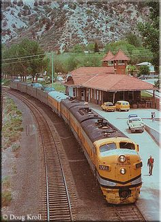 The DRG's Rio Grande Zephyr (a truncated version of the original CZ still operated by the railroad) boards passengers at the station in Glenwood Springs, Colorado on May 23, 1977.
