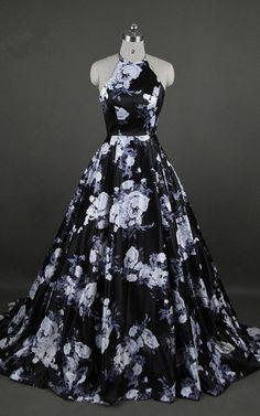 Black Floral Print Sleeveless Floor Length Ball Gown Long Prom Dress