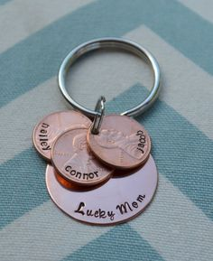 Lucky Mom Hand Stamped Key Chain with Hand Stamped Pennies