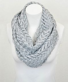 Gray Zigzag Lace Infinity Scarf