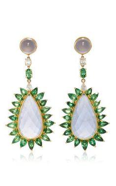 18k gold earrings with blue chalcedony, tsavorites, and diamonds  by PAMELA HUIZENGA for Preorder on Moda Operandi