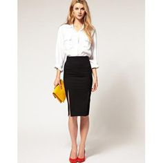 Black pencil skirt and white blouse with red high heels