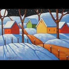 12x16 Winter Moon Original Modern Folk Art Landscape Abstract Painting Horvath | eBay