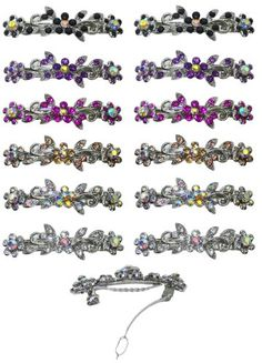 Dozen Pack of 12 Barrettes with French Clip Clasp and Sparkling Stones U862501366D1 -- Click affiliate link Amazon.com on image to review more details.