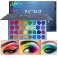 Beauty Glazed Rainbow Colors Fusion Eyeshadow Palette 39 Shades Metallic Shimmer Palette Long Lasting Eye Shadow Pallet High Pigment Makeup Palette for Party Beauty Shimmer Eyeshadow Palette, Matte Eyeshadow, Makeup Palette, Eyeshadow Makeup, Glow Palette, Colorful Eyeshadow, Waterproof Eyeshadow, Best Drugstore Makeup, Beauty Glazed