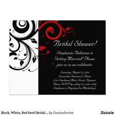 Black, White, Red Swirl Bridal Shower / General 4.25x5.5 Paper Invitation Card