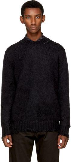 Alexander McQueen - Black Distressed Mohair Sweater