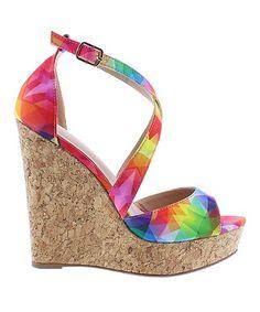 842d2a53bd88 Loving this Rainbow Derby Cork Wedge Sandal - Women on  zulily!   zulilyfinds Wedge