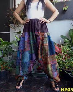 Unisex Drop Crotch Ohm Unique Patchwork Harem Baggy Pants,100%Cotton HP5 #TribalFashion #CasualHaremDropCrotchHippie