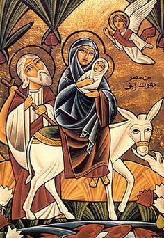 Coptic icon -- holy-family-trip-to-egypt Religious Images, Religious Icons, Religious Art, Flights To Egypt, Religion, Posters Vintage, Byzantine Icons, Catholic Art, Holy Family