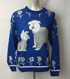 Vintage College Point Scottish Dog Sweater Blue and White M USA Made #CollegePoint #Crewneck