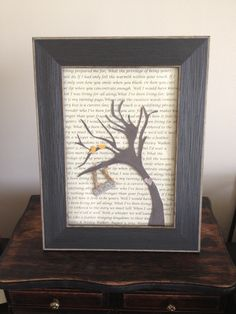 Wedding present I made for my cousin using lyrics to her first dance as background, her invitation as the tree, and her save the date for the birds, heart, and date sign. DIY wedding gift