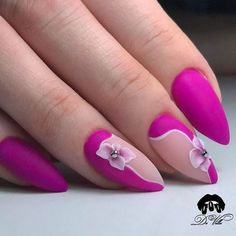 Top 30 Trending Nail Art Designs And Ideas Manicure Colors, Nail Manicure, Nail Polish, Cute Nails, Pretty Nails, Uñas One Stroke, Nail Art Fleur, Special Nails, Gel Acrylic Nails