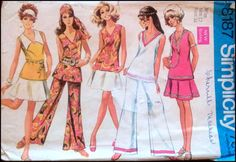 Simplicity 8187 Vintage Sewing Pattern Misses 18 Bust Tunic Top Overblouse Bell Bottom Pants Flared Skirt Hippie Flapper Uncut by SewVintagePDX on Etsy Vintage Dress Patterns, Clothing Patterns, Vintage Dresses, Vintage Outfits, Vintage Clothing, 60s And 70s Fashion, Girl Fashion, Vintage Fashion, Retro Fashion