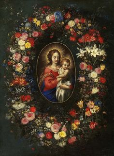 Hans Rottenhammer (1564-1625) Flower Garland Around a Painting of the Virgin and Child, 1608 : Galerie St. Germain, Monte Carlo  (1000×1362)