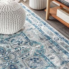 Jonathan Y Vintage Medallion With Border X Area Rug In Light Grey/blue Colorful Rugs, Blue Grey Rug, Rugs, Blue Grey, Area Rug Sizes, Power Loom, Vintage Medallion, Area Rugs, Vintage
